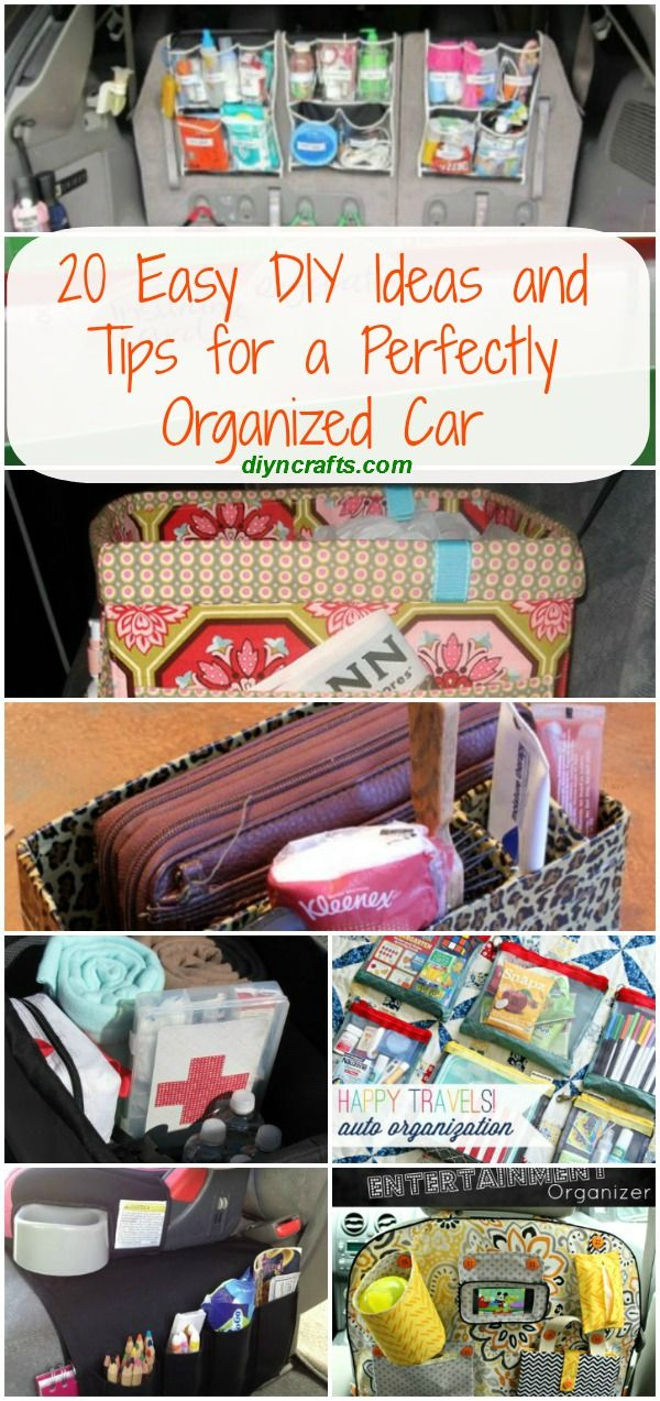 20 Easy DIY Ideas and Tips for a Perfectly Organized Car - Organizing the car does not have to be difficult or take much time. Best of all, it doesn't have to be expensive. There are a number of DIY tricks that you can use to get your car cleaned up and perfectly organized.