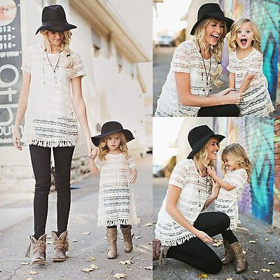 Combinando Roupas da família Mãe e Filha Combinando Vestidos Mulheres Meninas Rendas Vestido Floral Roupas Da Família