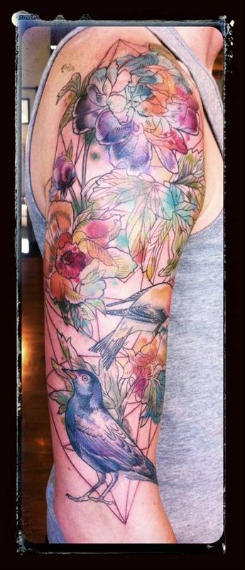 Alice Kendall - Wonderland Tattoos, Portland Oregon -local artist, love the use of watercolor