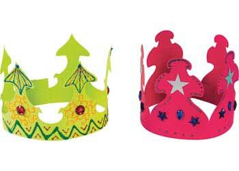 Assorted Coloured Paper Crowns Pack of 24. Assorted coloured crowns with 2 different patterns. Paint, colour or add embellishments and use for a play or just for fun.