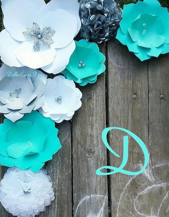 Large Paper Flowers Aqua Teal Blue Silver Gray And White Giant Paper