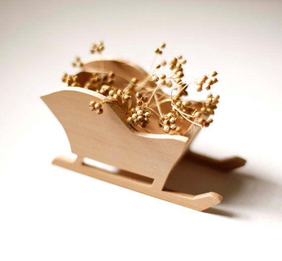 Items similar to Handmade Christmas Ornament - Recycled Cedar Sleigh on Etsy