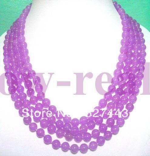 Оптовая продажа бесплатная доставка > 4 STRANDS азии ювелирные изделия фиолетового нефрита ожерелье из бисера