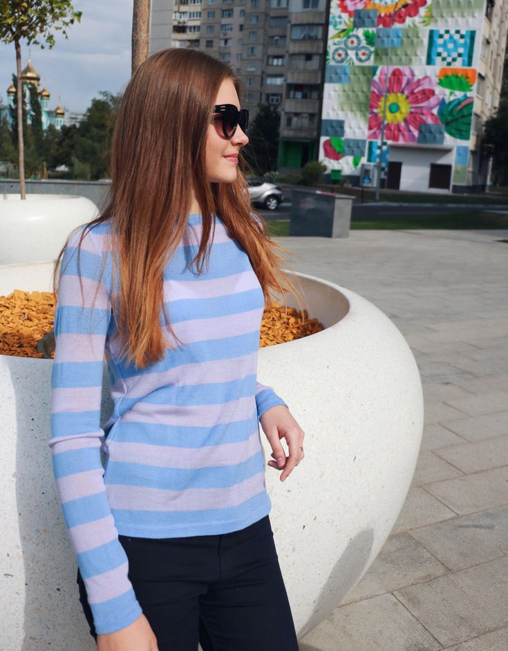 READY TO SHIP  Cashmere knitted sweater spring jumper silk clothing striped sweater knit sweater stylish look stylish clothing