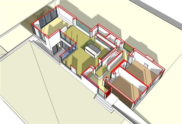 Extruded view of proposed dwelling sketch design proposals