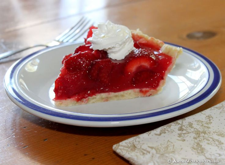 Amish Strawberry Pie with Whipped Cream