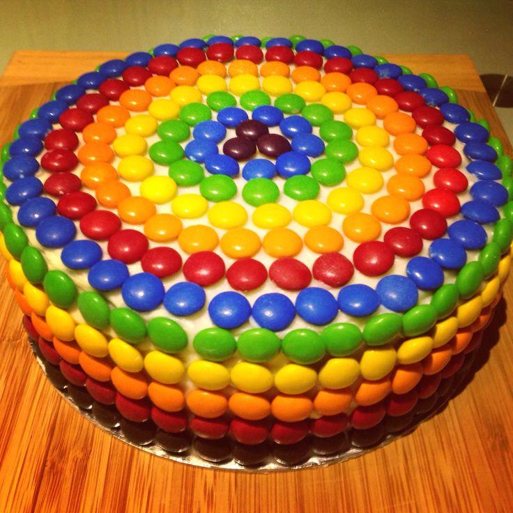 Rainbow m&ms cake