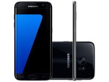 "Smartphone Samsung Galaxy S7 Edge 32GB Preto 4G - Câm. 12MP + Selfie 5MP Tela 5.5"" Desbl. Timde R$ 3.499,00 por R$ 2.699,90."