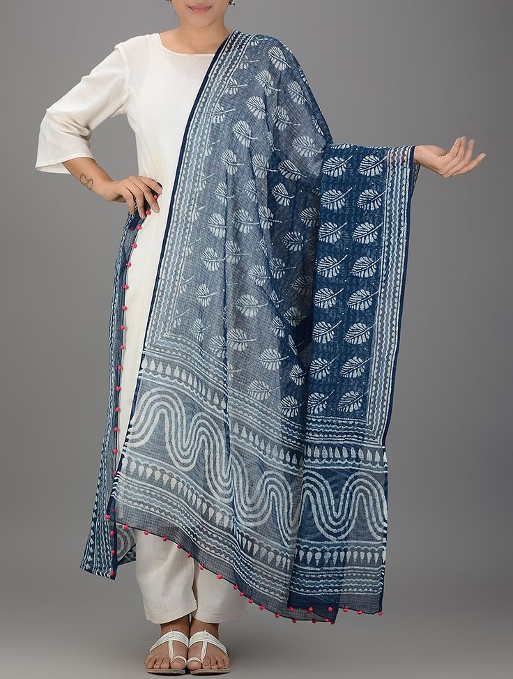 Buy Indigo White Dabu printed Kota Doria Mukaish Dupatta with Tassels Cotton Dupattas Companions work Online at Jaypore.com