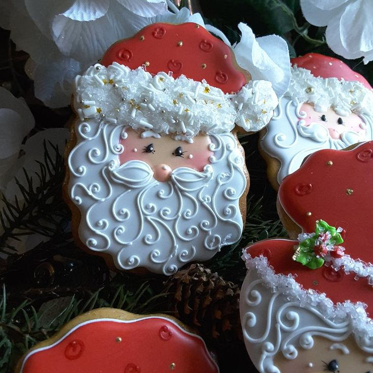 Cute Mr Claus Christmas cookie by Teri Pringle Wood