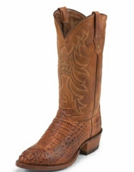 Tony Lama Boots Mens Exotic Western Cowboy Cognac Vintage Hornback Caiman Boots 1060