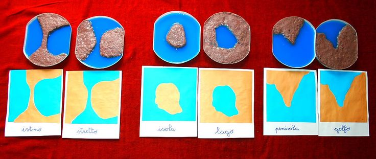Forme contrastanti di terra e acqua Montessori