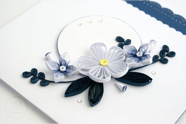 kartka quilling kwiaty handmade