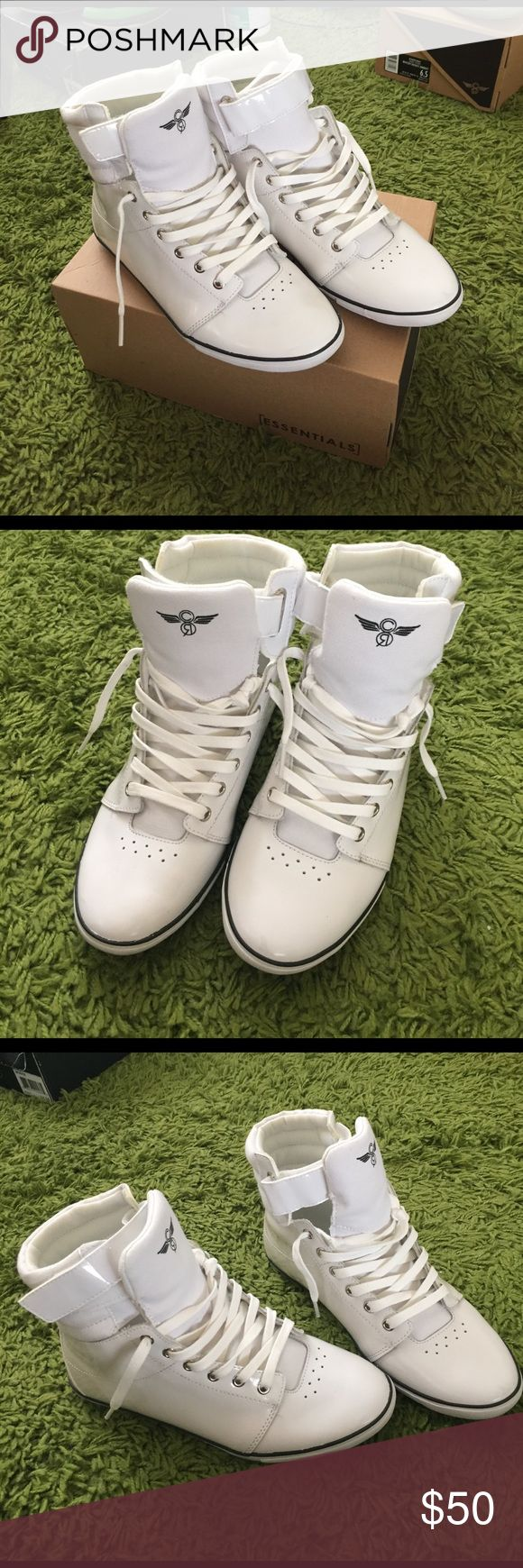 Creative Recreation White high top sneakers White high top sneakers with ankle strap. Like new; worn only once. Creative Recreation Shoes Sneakers