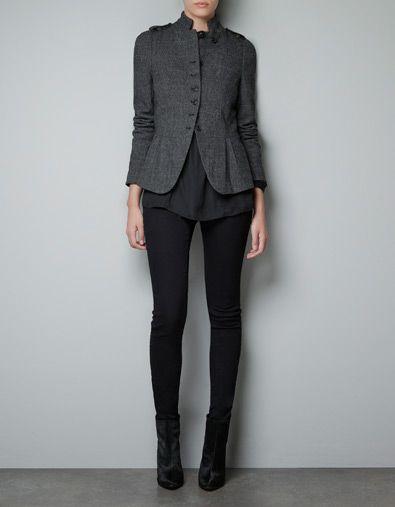 Outfit, especially the WOOL HERRINGBONE JACKET - Blazers - Woman - ZARA