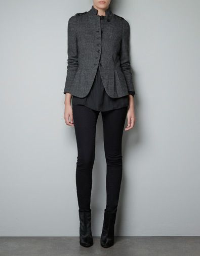 WOOL HERRINGBONE JACKET - Blazers - Woman - ZARA