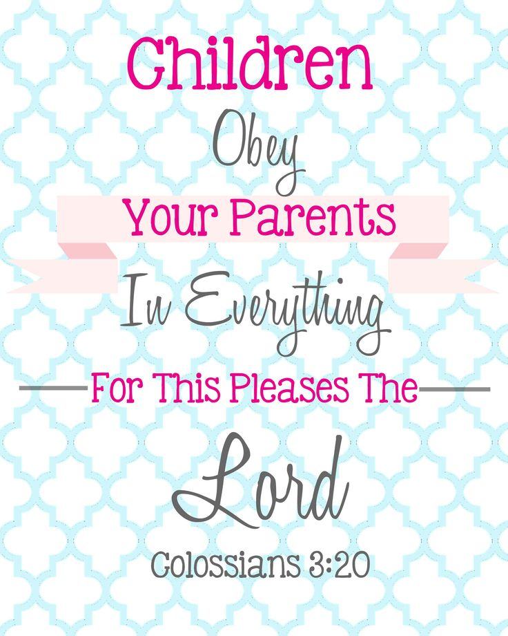 Bible Verses For Children - Free Printable! Children Obey ...