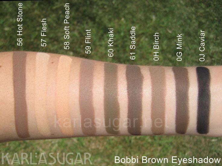 Bobbi Brown, eyeshadow, swatches, Hot Stone, Flesh, Soft