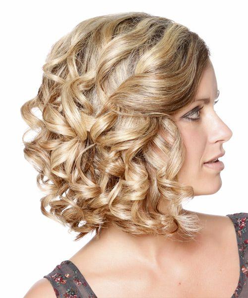 Medium Curly Caramel Blonde Updo