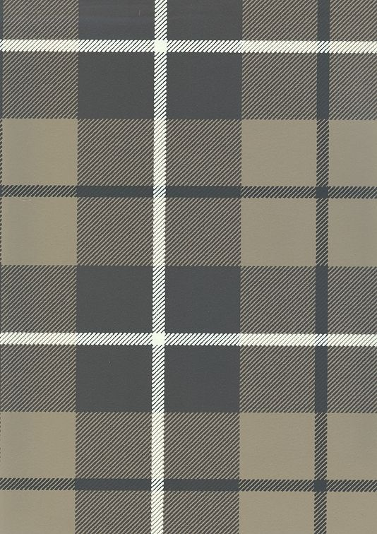 Ranold Wallpaper Tartan wallpaper in charcoal, greige and off white