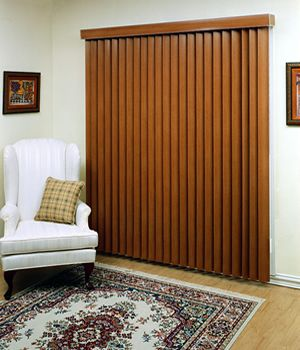 Faux Wood Vertical Blinds- but a darker brown like Mahogany brown, even ebony