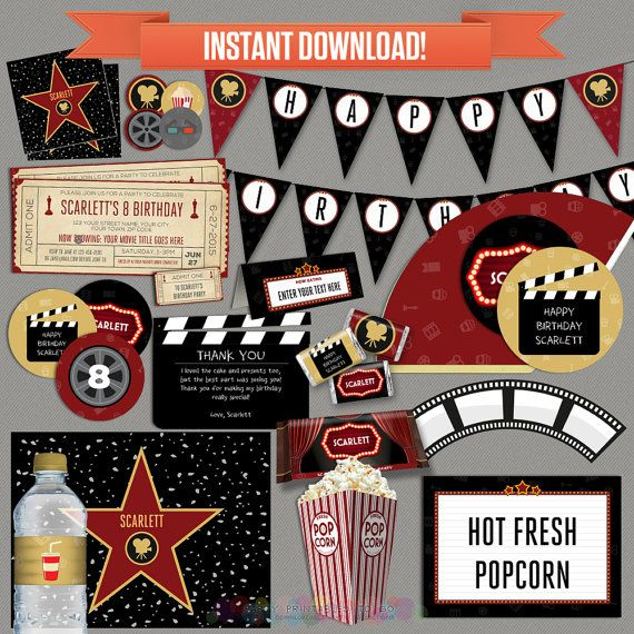 This listing contains a US letter (8.5 x 11 inches) size PDF file with 27 pages of a printable collection for a Movie Party Decorations & Movie Ticket Invitation, that you can personalize at home using Adobe Reader, to print at home or at a print shop.  Please keep in mind that no printed material will be shipped.  THIS MOVIE NIGHT PARTY PRINTABLE COLLECTION INCLUDES: ------------------------------------------------------------------------------------------------  * 5.6 x 2.5 in. Invitations…