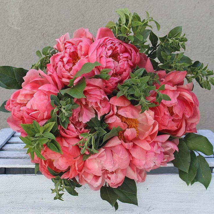 Ramo de Peonías Naranjas | Floristería Bourguignon #peony #bouquet