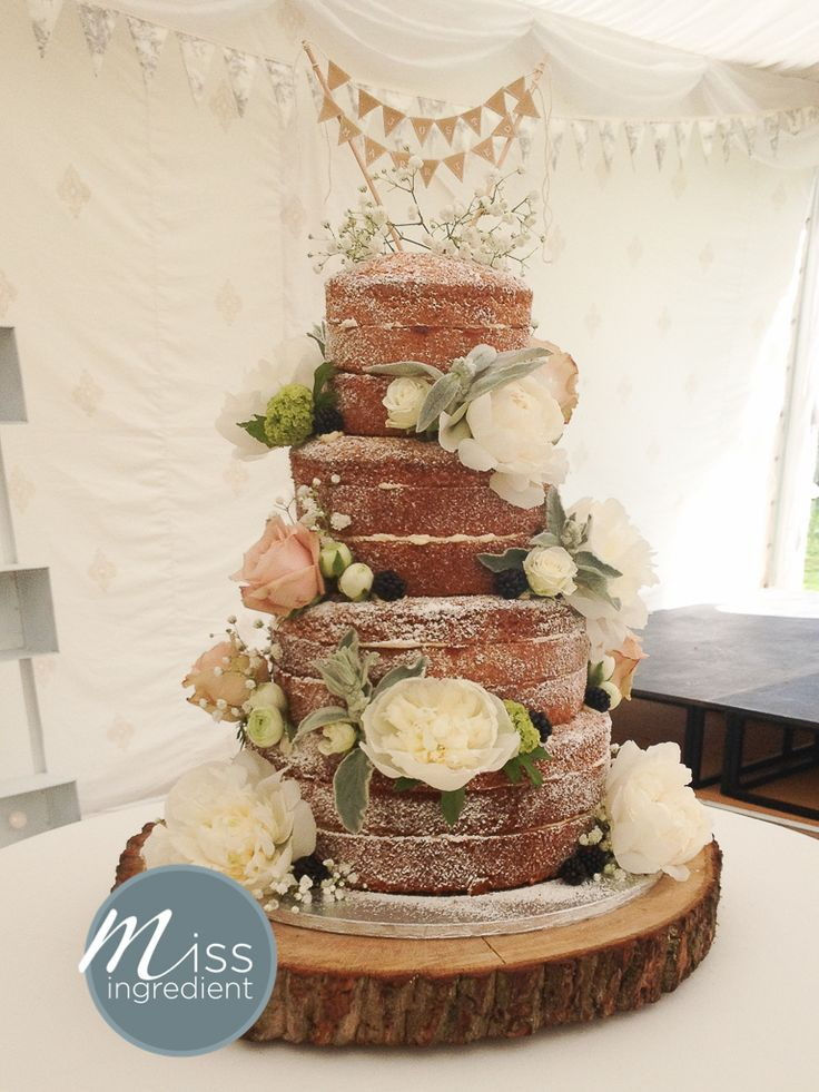 Naked Wedding Cake with flowers and fruit by Miss Ingredient and flowers from Jennifer Poynter