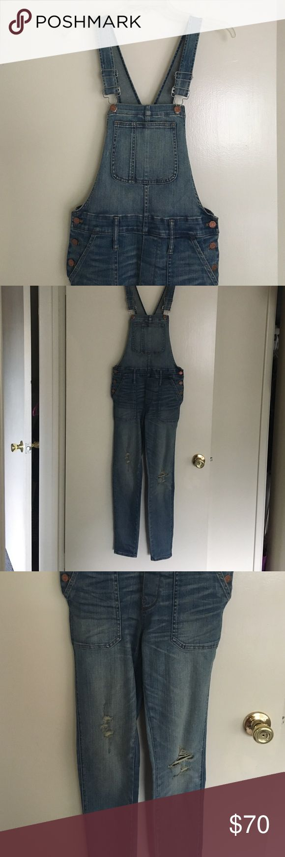 Madewell overalls Madewell distressed overalls. I am usually a small but these are xs. Stretchy denim. Only worn twice. Madewell Pants Jumpsuits & Rompers