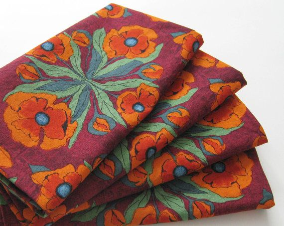 Large Cloth Napkins  Set of 4  Dark Red Orange by ClearSkyHome, $18.00