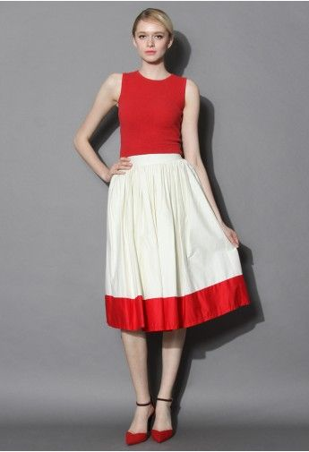 Red Admiration Pleated Full Skirt