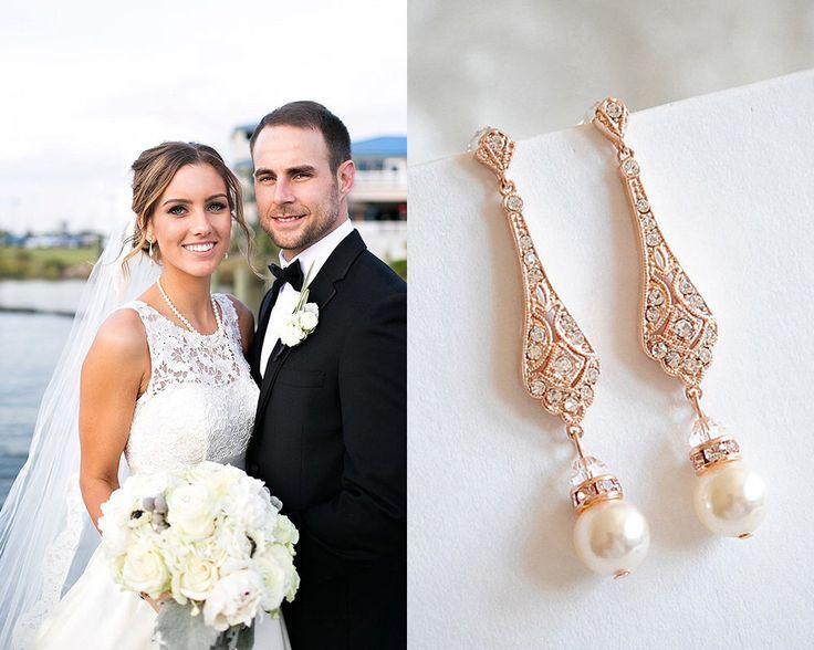 Wedding Earrings, Rose Gold Bridal Earrings, Swarovski Pearl Drop Dangle Earrings, Stud Earrings, Old Hollywood Wedding Jewelry, TRISSIE by GlamorousBijoux on Etsy https://www.etsy.com/listing/230734847/wedding-earrings-rose-gold-bridal