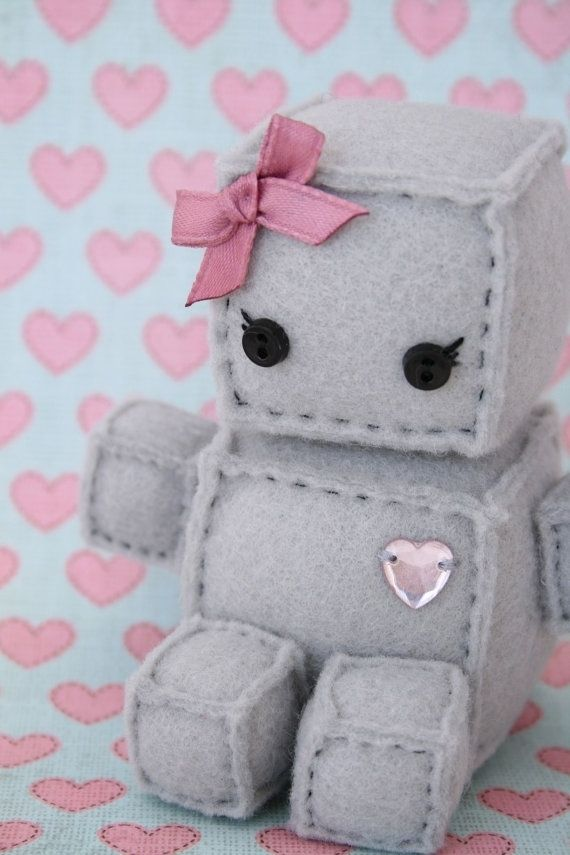 Adorable Robot Plushies: Thoughts, Girls, Diy'S, Pink Heart, Robots Plushies, Felt Robots, Toys, Adorable Robots, Crafts