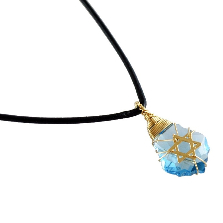 Crystal: Gold Filled & Leather Postmodern Star of David Necklace (Blue)