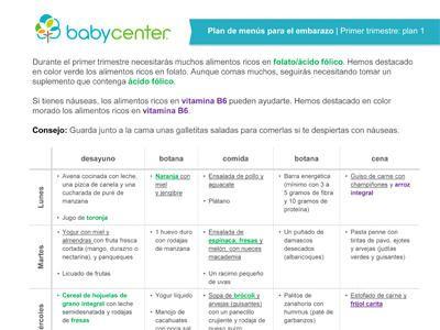 Recetas y menús por semana, que puedes imprimir, con los alimentos más adecuados para cada trimestre de tu embarazo.