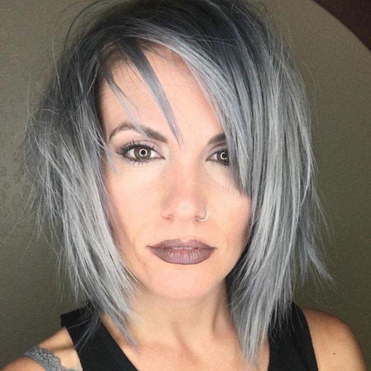 Bob hairstyles tiered short hair silver hair – #Bob # hairstyles #short hairs #silver hair #stufig –