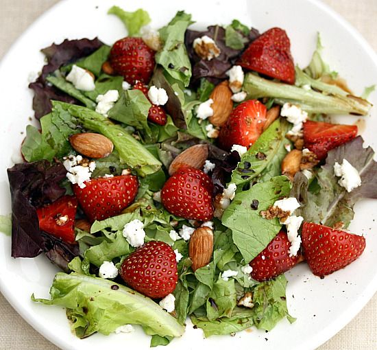 Salad: strawberries, almonds, goat cheese.     A friend made this for me, and I hope this is the same recipe! It was delicious.