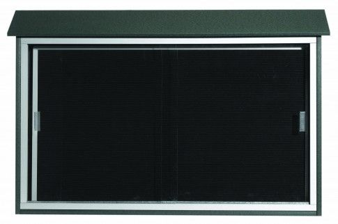 PLDS3045L-4. Green Sliding Door Plastic Lumber Message Center with Letter Board. 30″ High x 45″ Wide