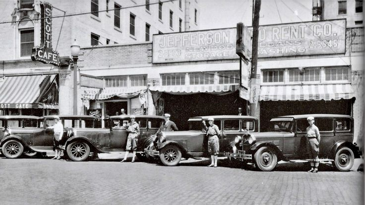 Yes, you could rent a chauffeured Dodge Sedan right across from the Jefferson Hotel at Jefferson Auto Rent. They were located at 306 South Houston Street, Dallas, Texas.  (Downtown Between Scott & Jefferson Hotels on Houston St.) The sign above their garage promotes, New Dodge Sedans, Washing and Storage. 1925  Photo and information courtesy Dallas, Then and Now.