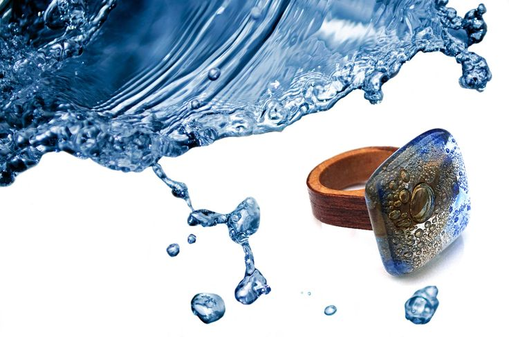 """""""The Power of Water"""" Ring (made from wood and glass, in GlassIdeas studio.    READY TO SHIP Ring, made using glass and wood, Glassideas jewelry, one of a kind ring.Manufactured and Copyright Pro deas Trade SRL Romania"""