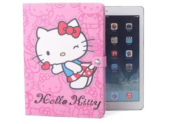 """New Cute Hello Kitty Smart Case For apple iPad 2 ipad3 9.7""""KT Cover Stand Leather For Apple iPad 4 case Tablet Protective Cover"""