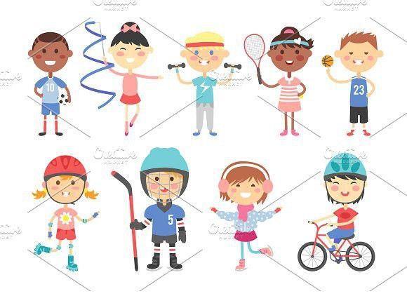 Sport Kids Characters Vector Sports Activities For Kids Kids Sports Hobbies For Kids