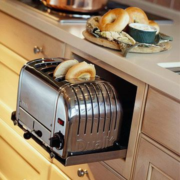 A toaster drawer for saving counter space -- why isn't this a standard thing in homes already?! | bhg.com: Small Appliances, Dreams Kitchens, Hidden Toaster, Counter Spaces, Dreams House, Kitchens Ideas, Storage Ideas, Kitchens Storage, Kitchens Organizations