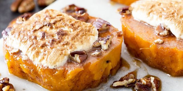 INGREDIENTS   	4-5 Sweet Potatoes or Yams (approx 3 lbs)  Cinnamon Honey Butter   	1 cup honey  	½ cup butter, softened  	½ tbs cinnamon  Garnish   	½ cup pecan bits  	24 Marshmallows (I used Marshmallow stackers)     INSTRUCTIONS   	Boil sweet potatoes or