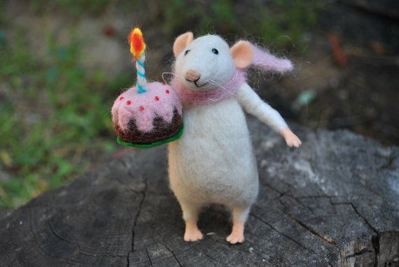 Mouse with cake Birthday gift Fairy tale animal Art by MillaKnitt