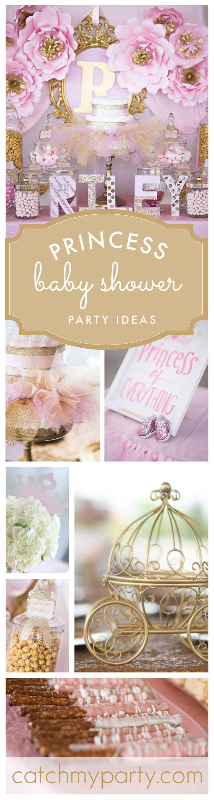 An adorable elegant Princess Baby Shower party in Pink and Gold! See more party ideas at http://Catchmyparty.com!
