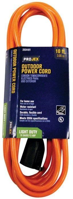 Projex FW-837P Indoor And Outdoor Extension Cord, 16 Gauge, Orange, 10'