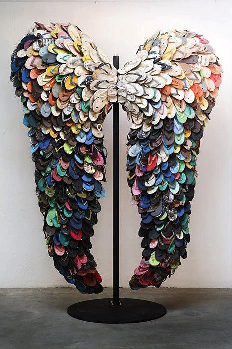 Wings, by Who? ...Recycled flip-flops...an excellent way for such ridiculous shoes to die.  #ecoart #recycle