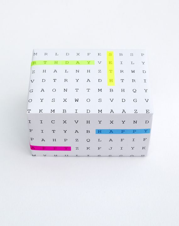 DIY Word Search Gift Wrap - with Christmas words instead!