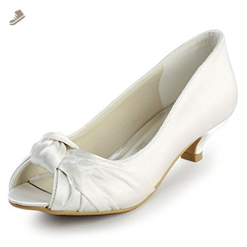 ElegantPark EP2045 Women Peep Toe Comfort Heel Knots Satin Wedding Bridal  Shoes Ivory US 6